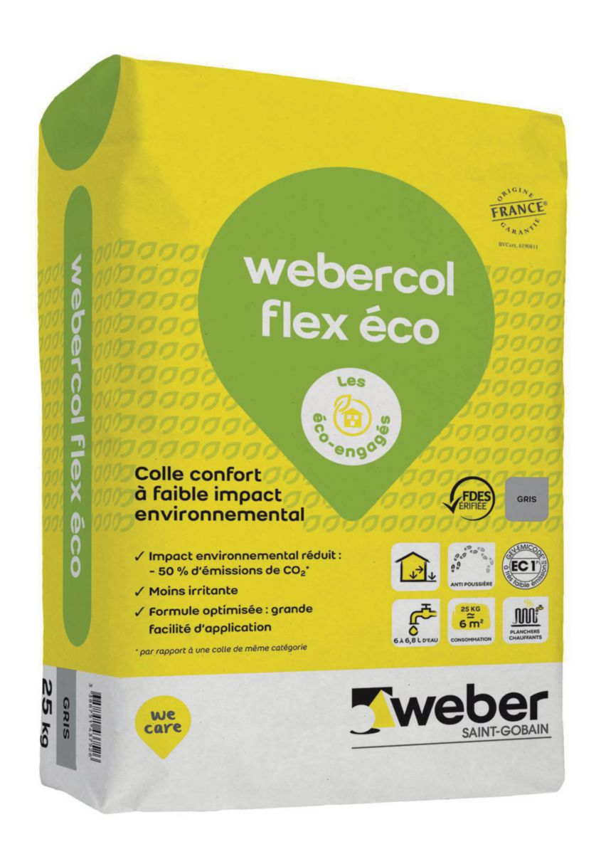 WEBER - Mortier-colle déformable non irritant pour carrelage Weber.col flex éco - sac de 25 kg ...
